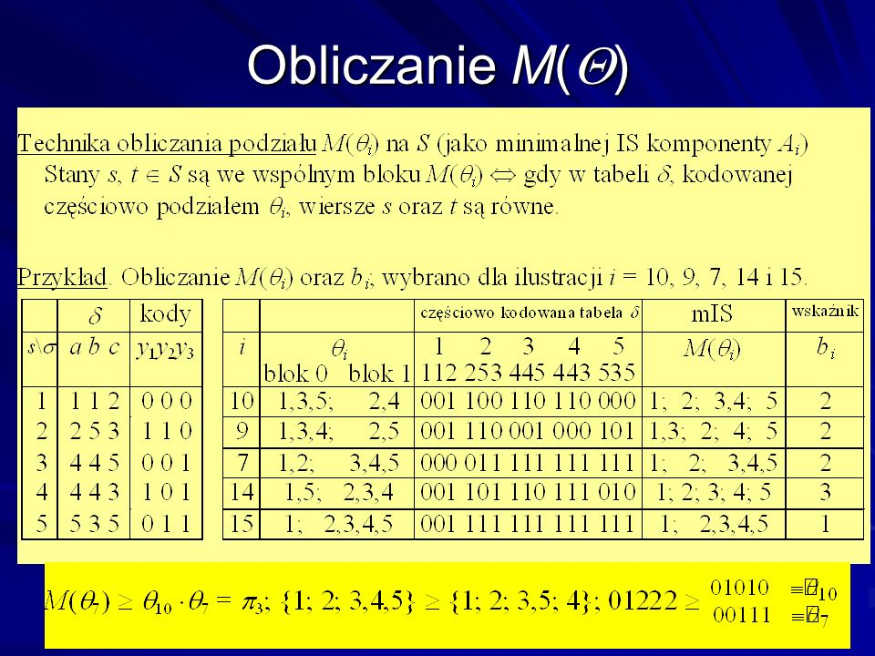 5 Obliczanie M( )