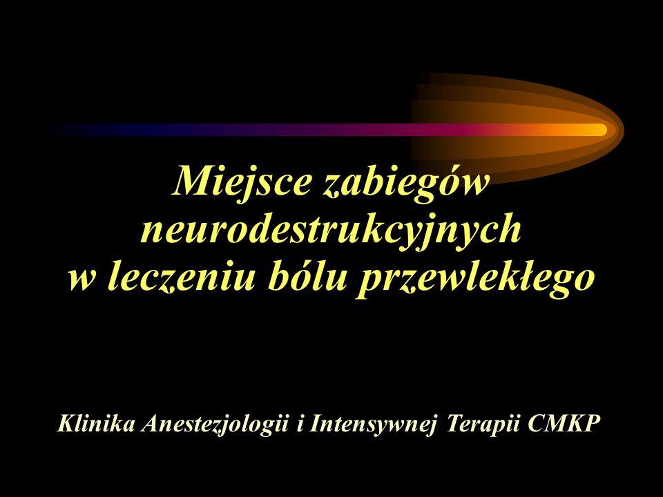Miejsce zabiegów neurodestrukcyjnych w leczeniu bólu przewlekłego Klinika Anestezjologii i Intensywnej Terapii CMKP