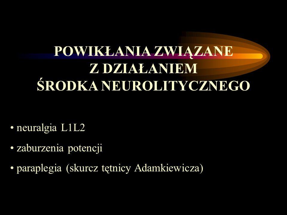 POWIKŁANIA ZWIĄZANE Z DZIAŁANIEM ŚRODKA NEUROLITYCZNEGO neuralgia L1L2 zaburzenia potencji paraplegia (skurcz tętnicy Adamkiewicza)