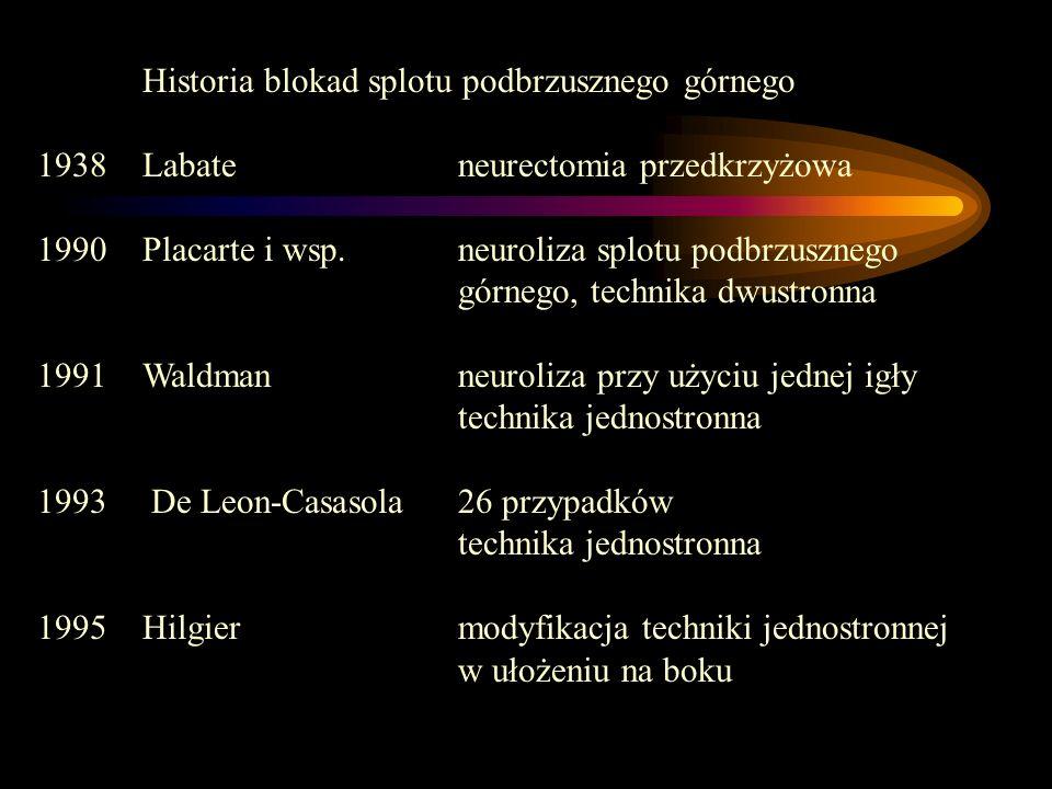 Historia blokad splotu podbrzusznego górnego 1938 Labate neurectomia przedkrzyżowa 1990 Placarte i wsp. neuroliza splotu podbrzusznego górnego, techni