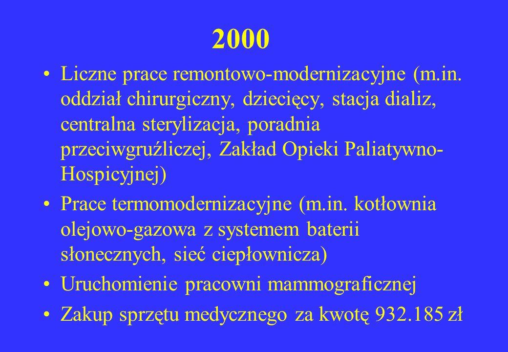 2000 Liczne prace remontowo-modernizacyjne (m.in. oddział chirurgiczny, dziecięcy, stacja dializ, centralna sterylizacja, poradnia przeciwgruźliczej,