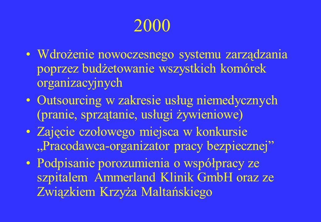 2000 Wdrożenie nowoczesnego systemu zarządzania poprzez budżetowanie wszystkich komórek organizacyjnych Outsourcing w zakresie usług niemedycznych (pr