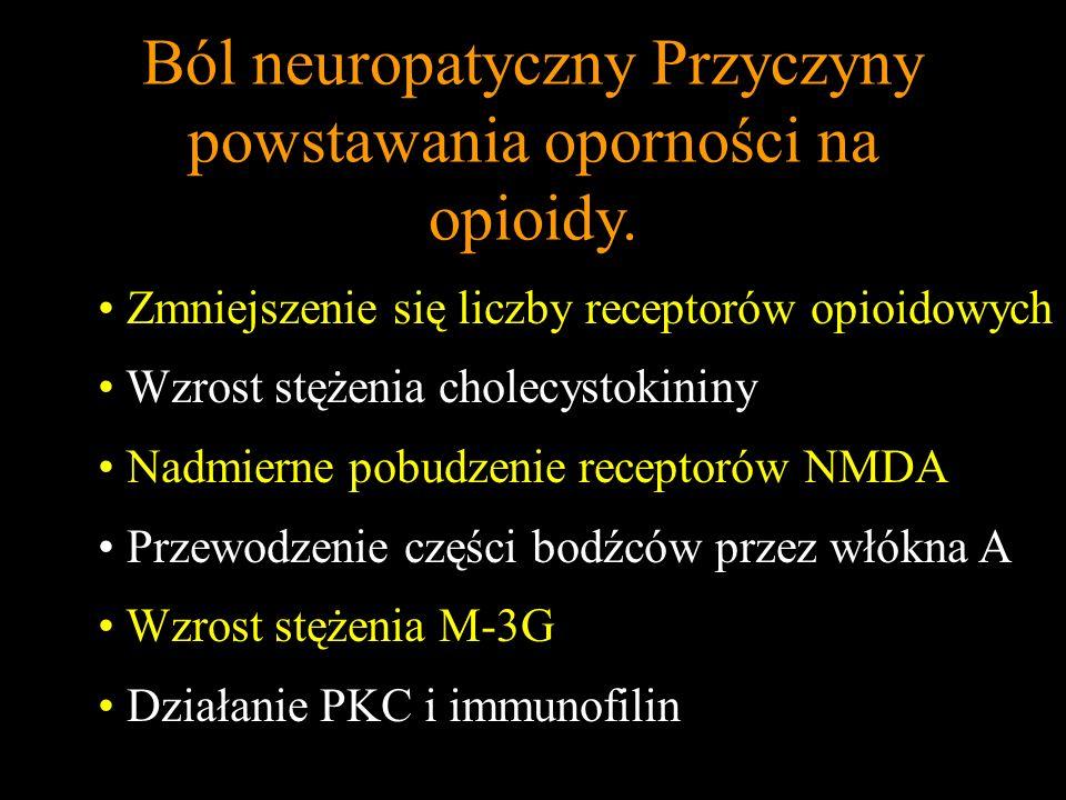 Ból neuropatyczny Przyczyny powstawania oporności na opioidy. Zmniejszenie się liczby receptorów opioidowych Wzrost stężenia cholecystokininy Nadmiern