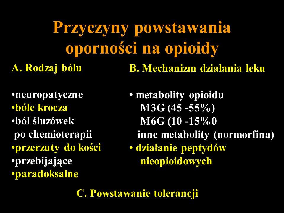 Przyczyny powstawania oporności na opioidy A. Rodzaj bólu neuropatyczne bóle krocza ból śluzówek po chemioterapii przerzuty do kości przebijające para