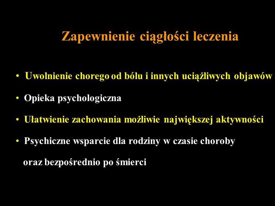 Zapewnienie ciągłości leczenia U wolnienie chorego od bólu i innych uciążliwych objawów Opieka psychologiczna Ułatwienie zachowania możliwie największ