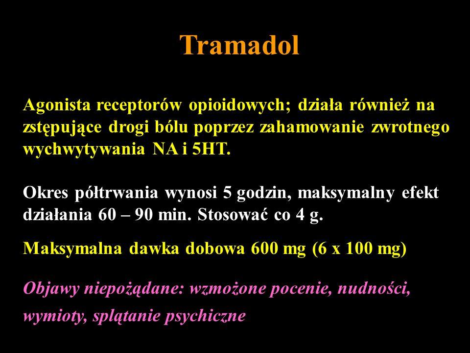 Tramadol Agonista receptorów opioidowych; działa również na zstępujące drogi bólu poprzez zahamowanie zwrotnego wychwytywania NA i 5HT. Okres półtrwan