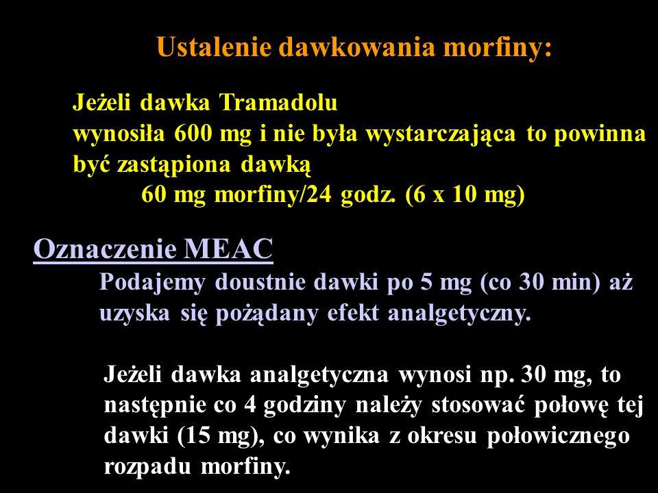 Ustalenie dawkowania morfiny: Jeżeli dawka Tramadolu wynosiła 600 mg i nie była wystarczająca to powinna być zastąpiona dawką 60 mg morfiny/24 godz. (