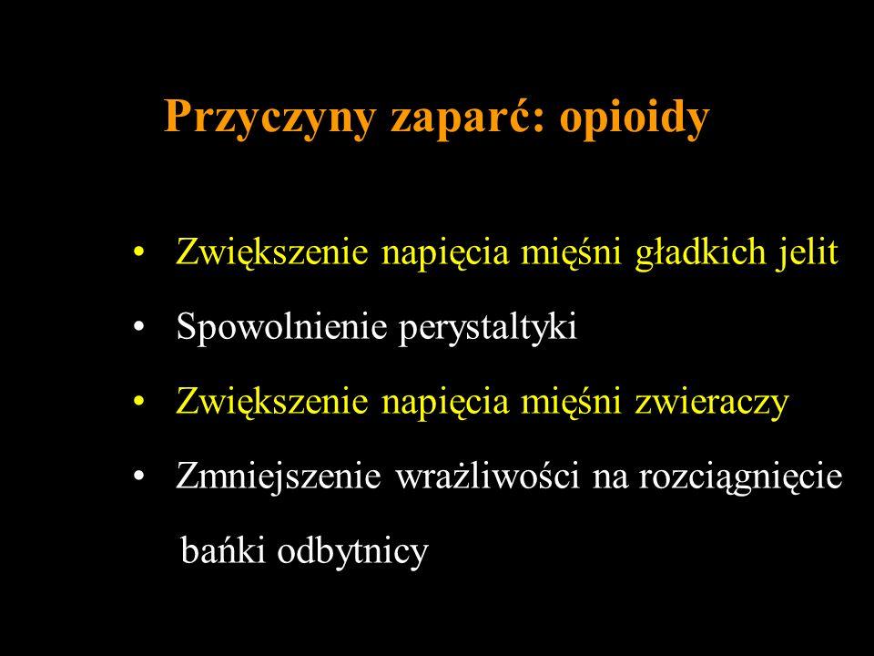Przyczyny zaparć: opioidy Zwiększenie napięcia mięśni gładkich jelit Spowolnienie perystaltyki Zwiększenie napięcia mięśni zwieraczy Zmniejszenie wraż