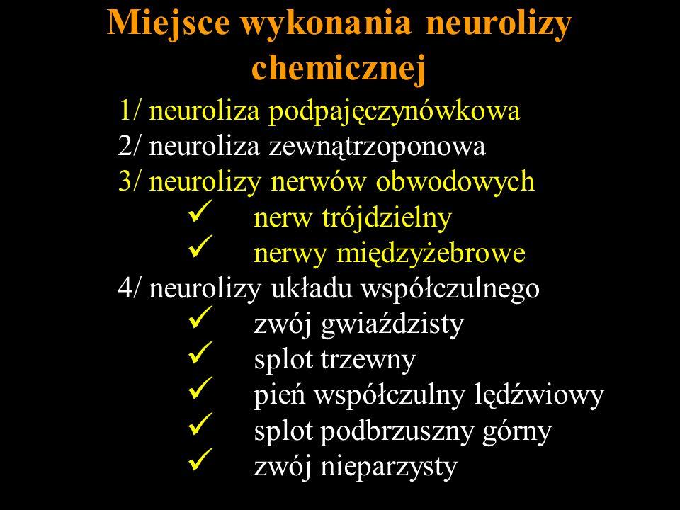 Miejsce wykonania neurolizy chemicznej 1/ neuroliza podpajęczynówkowa 2/ neuroliza zewnątrzoponowa 3/ neurolizy nerwów obwodowych nerw trójdzielny ner