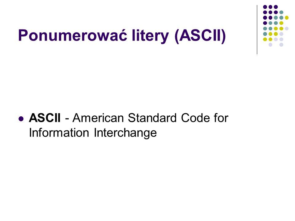 Ponumerować litery (ASCII) ASCII - American Standard Code for Information Interchange