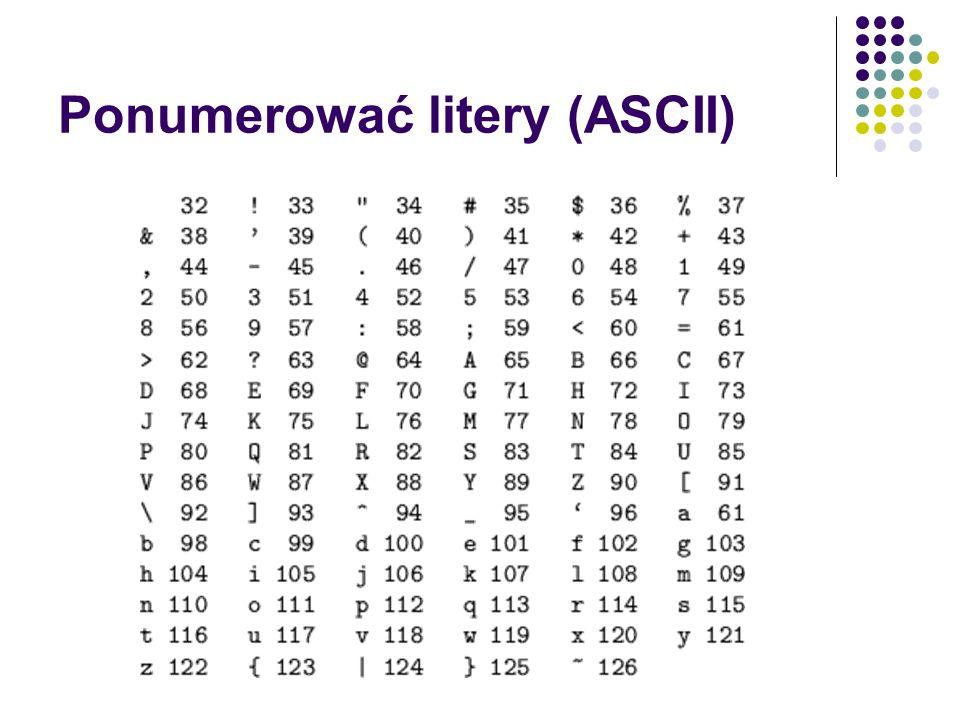 Ponumerować litery (ASCII)