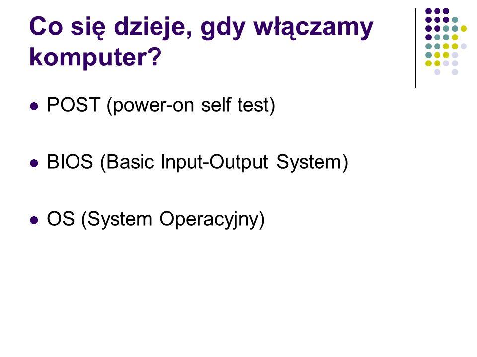 Co się dzieje, gdy włączamy komputer? POST (power-on self test) BIOS (Basic Input-Output System) OS (System Operacyjny)