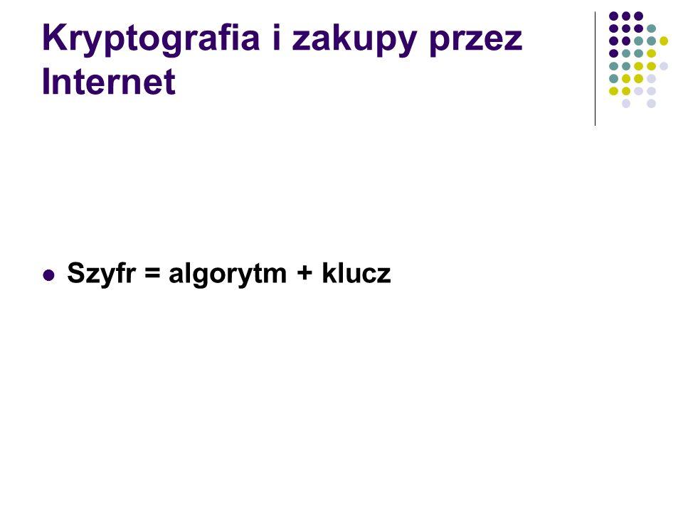 Kryptografia i zakupy przez Internet Szyfr = algorytm + klucz