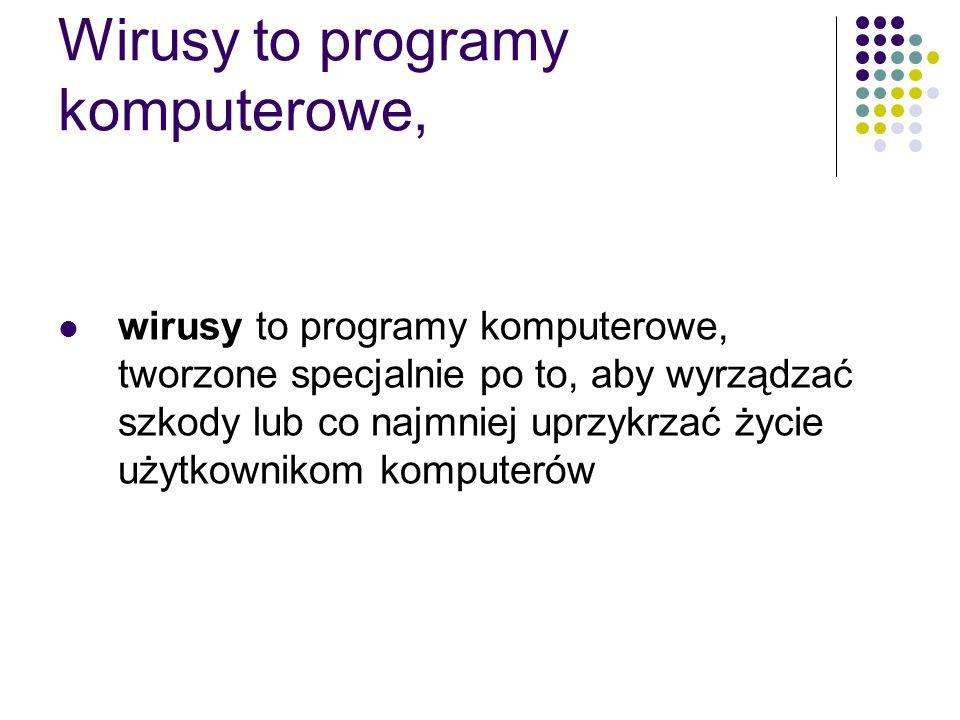 Wirusy to programy komputerowe, wirusy to programy komputerowe, tworzone specjalnie po to, aby wyrządzać szkody lub co najmniej uprzykrzać życie użytk