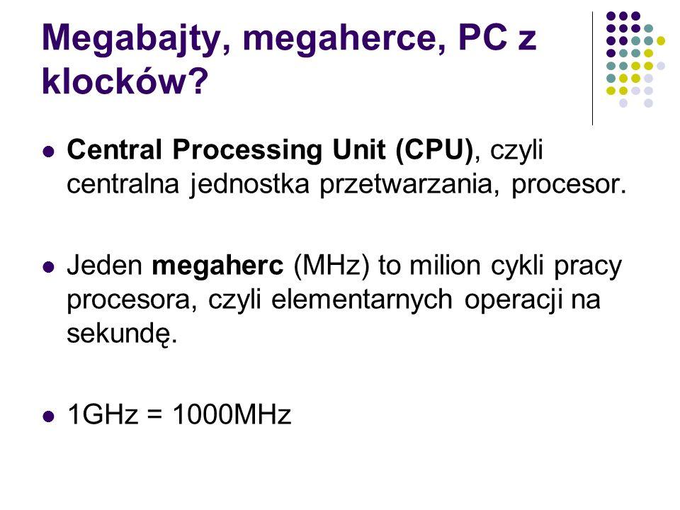 Megabajty, megaherce, PC z klocków? Central Processing Unit (CPU), czyli centralna jednostka przetwarzania, procesor. Jeden megaherc (MHz) to milion c