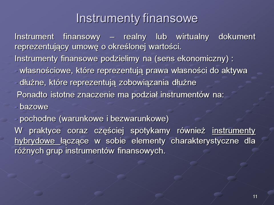 10 6. Struktura systemu finansowego (rynkowego) System finansowy tworzą (Z. Polański): -instrumenty finansowe (nośniki siły nabywczej); -rynki finanso