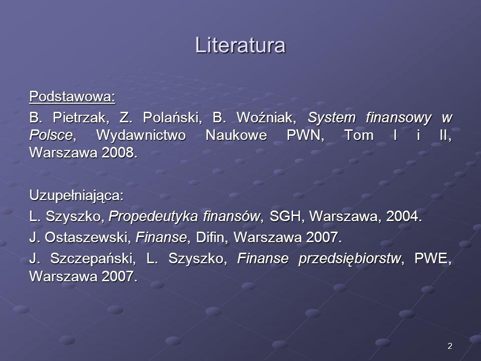 Rola systemu finansowego we współczesnej gospodarce rynkowej dr Mirosław Budzicki