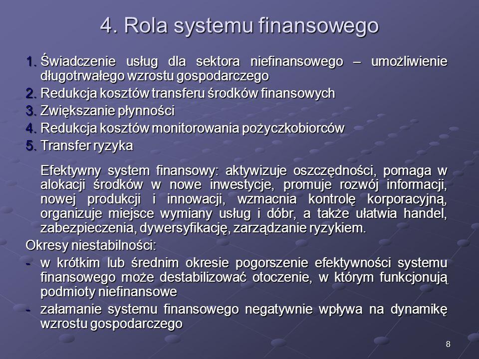 7 3. Funkcje systemu finansowego 1. – zasilenie niefinansowego sektora gospodarki w kapitał (kreowanie kapitału), a także umożliwienie obiegu środków