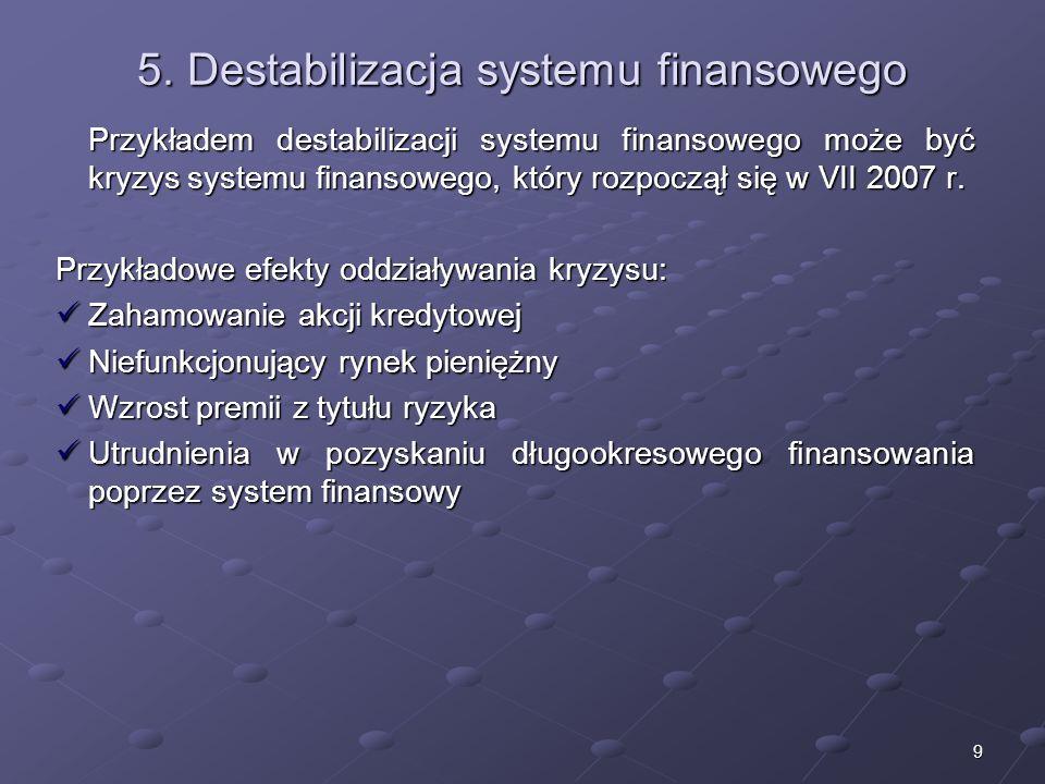 8 4. Rola systemu finansowego 1.Świadczenie usług dla sektora niefinansowego – umożliwienie długotrwałego wzrostu gospodarczego 2.Redukcja kosztów tra