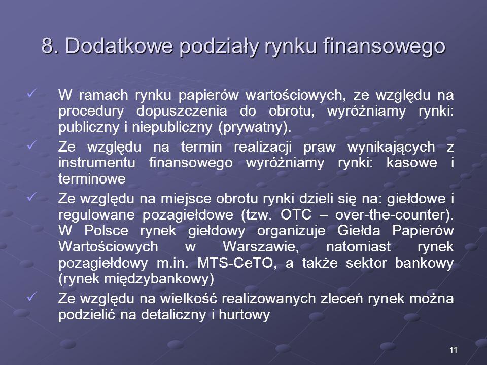 10 7. Przykładowe instrumenty rynku finansowego RYNEK PIENIĘŻNY RYNEK KAPITAŁOWY RYNEK DERYWATÓW -Bony pieniężne -Bony skarbowe -Lokaty i depozyty -We