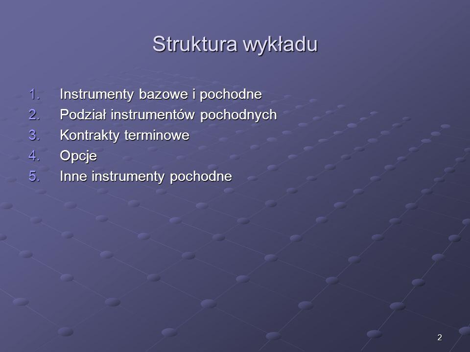 Podstawowe instrumenty pochodne dr Mirosław Budzicki
