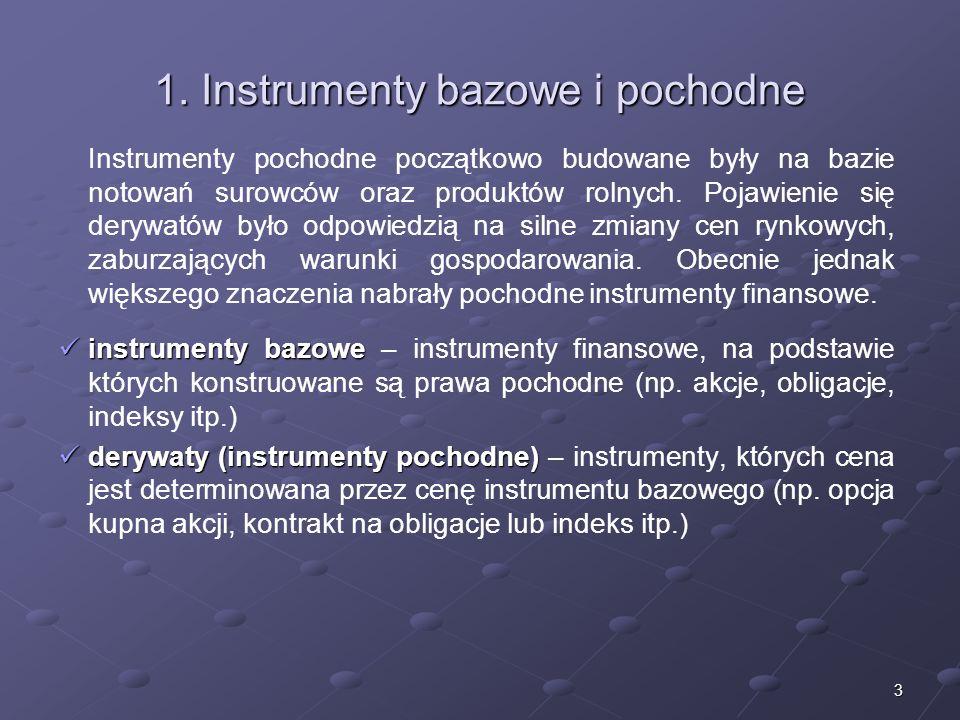 2 Struktura wykładu 1.Instrumenty bazowe i pochodne 2.Podział instrumentów pochodnych 3.Kontrakty terminowe 4.Opcje 5.Inne instrumenty pochodne