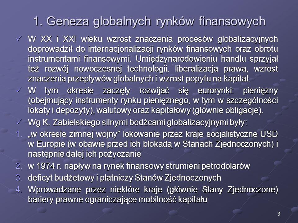 2 Struktura wykładu 1.Geneza globalnych rynków finansowych 2.Globalny rynek walutowy 3.Podmioty na międzynarodowym rynku finansowym