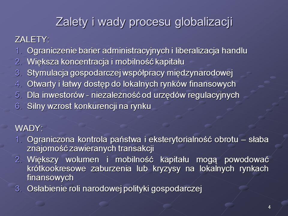 4 Zalety i wady procesu globalizacji ZALETY: 1.Ograniczenie barier administracyjnych i liberalizacja handlu 2.Większa koncentracja i mobilność kapitału 3.Stymulacja gospodarczej współpracy międzynarodowej 4.Otwarty i łatwy dostęp do lokalnych rynków finansowych 5.Dla inwestorów - niezależność od urzędów regulacyjnych 6.Silny wzrost konkurencji na rynku WADY: 1.Ograniczona kontrola państwa i eksterytorialność obrotu – słaba znajomość zawieranych transakcji 2.Większy wolumen i mobilność kapitału mogą powodować krótkookresowe zaburzenia lub kryzysy na lokalnych rynkach finansowych 3.Osłabienie roli narodowej polityki gospodarczej