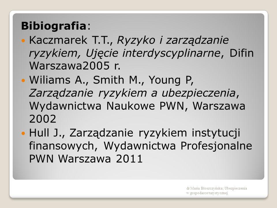 Bibiografia: Kaczmarek T.T., Ryzyko i zarządzanie ryzykiem, Ujęcie interdyscyplinarne, Difin Warszawa2005 r. Wiliams A., Smith M., Young P, Zarządzani