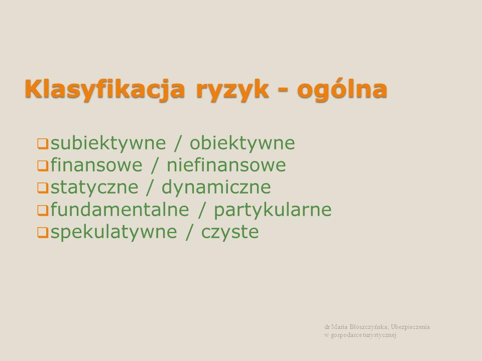 Klasyfikacja ryzyk - przedsiębiorstwo specyficzne /niespecyficzne wewnętrzne / zewnętrzne operacyjne / strategiczne Marginalne / znaczące dr Maria Błoszczyńska; Ubezpieczenia w gospodarce turystycznej