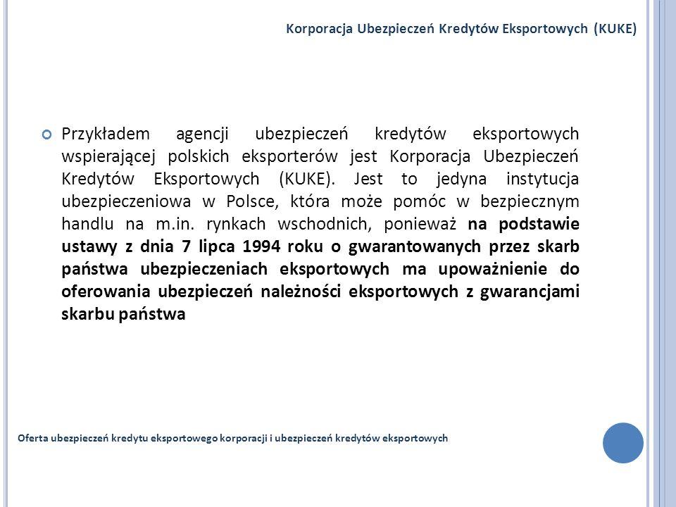 Przykładem agencji ubezpieczeń kredytów eksportowych wspierającej polskich eksporterów jest Korporacja Ubezpieczeń Kredytów Eksportowych (KUKE). Jest
