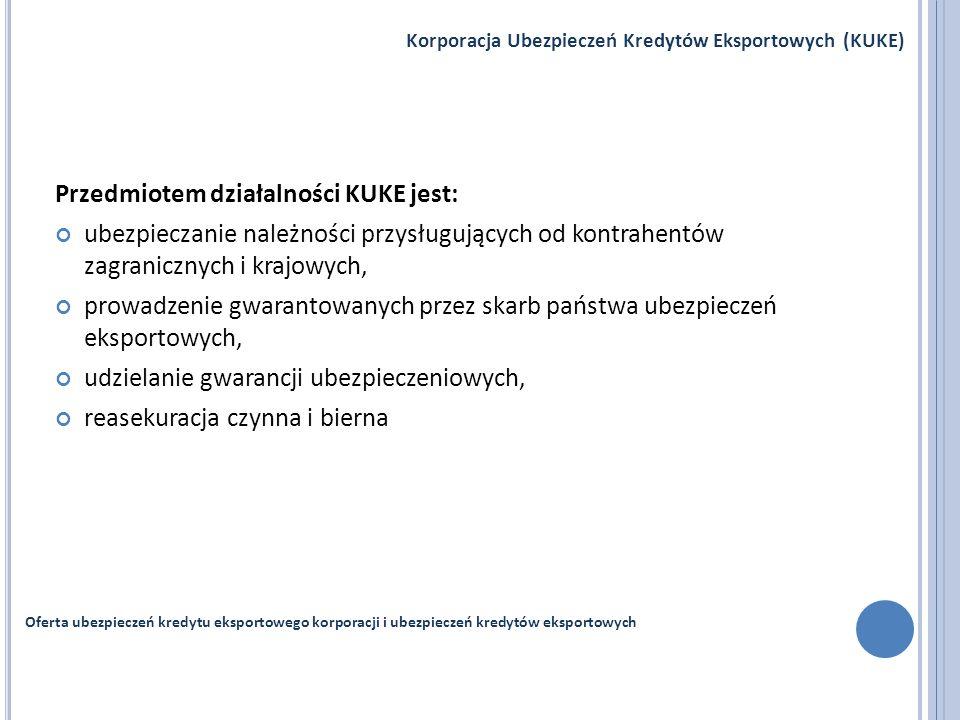 Przedmiotem działalności KUKE jest: ubezpieczanie należności przysługujących od kontrahentów zagranicznych i krajowych, prowadzenie gwarantowanych prz