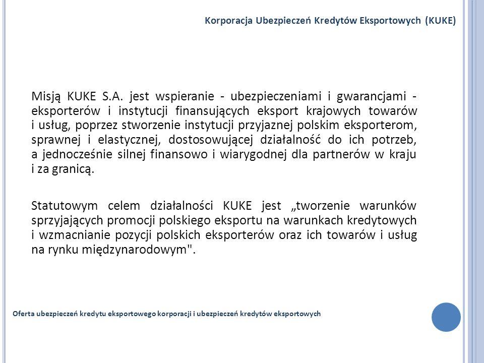 Misją KUKE S.A. jest wspieranie - ubezpieczeniami i gwarancjami - eksporterów i instytucji finansujących eksport krajowych towarów i usług, poprzez st