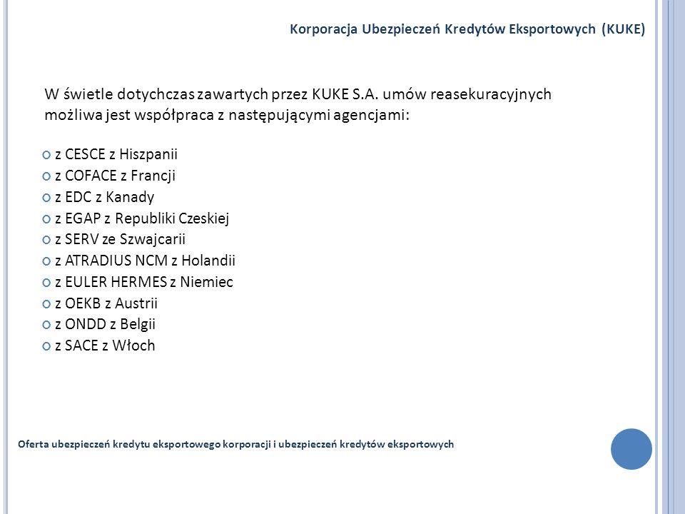 z CESCE z Hiszpanii z COFACE z Francji z EDC z Kanady z EGAP z Republiki Czeskiej z SERV ze Szwajcarii z ATRADIUS NCM z Holandii z EULER HERMES z Niem