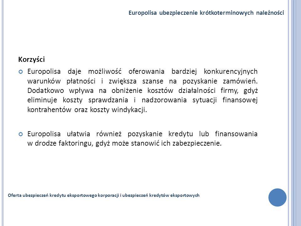 Korzyści Europolisa daje możliwość oferowania bardziej konkurencyjnych warunków płatności i zwiększa szanse na pozyskanie zamówień. Dodatkowo wpływa n