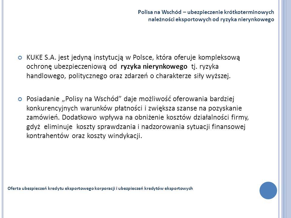 KUKE S.A. jest jedyną instytucją w Polsce, która oferuje kompleksową ochronę ubezpieczeniową od ryzyka nierynkowego tj. ryzyka handlowego, polityczneg
