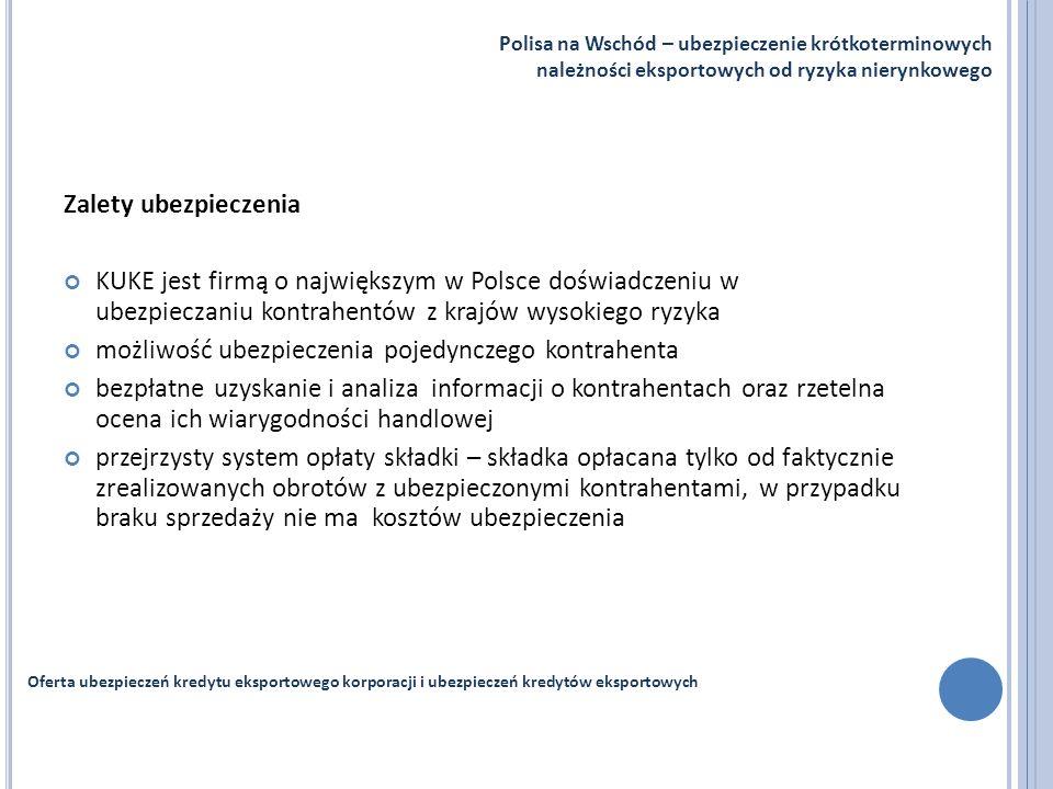 Zalety ubezpieczenia KUKE jest firmą o największym w Polsce doświadczeniu w ubezpieczaniu kontrahentów z krajów wysokiego ryzyka możliwość ubezpieczen