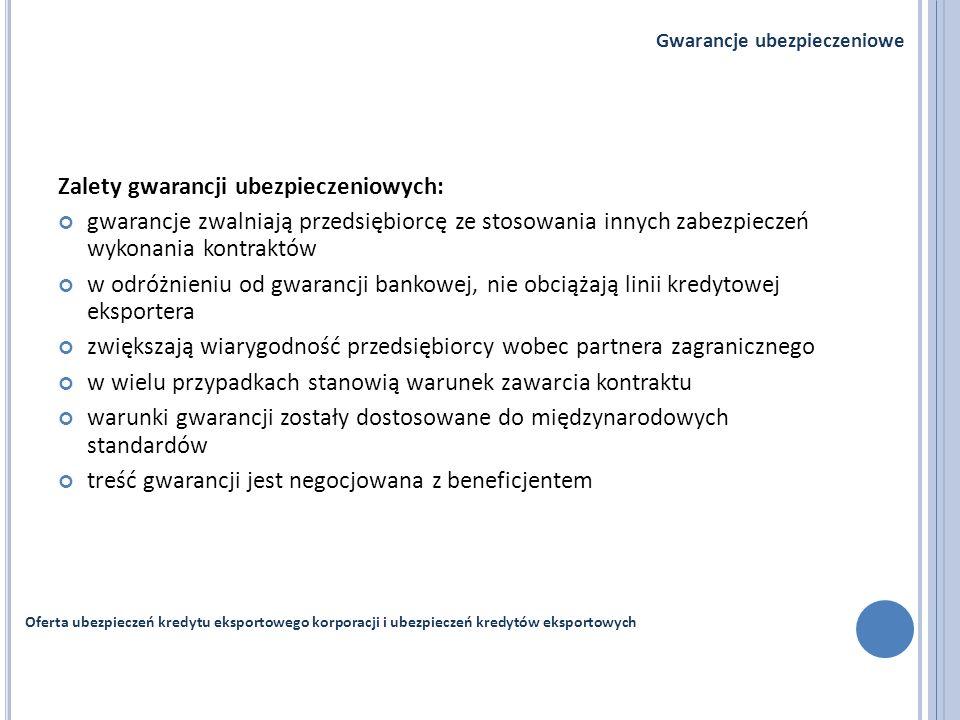Zalety gwarancji ubezpieczeniowych: gwarancje zwalniają przedsiębiorcę ze stosowania innych zabezpieczeń wykonania kontraktów w odróżnieniu od gwaranc