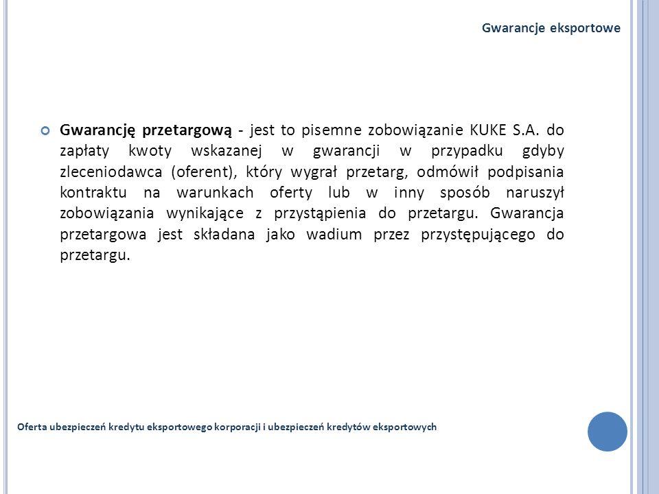 Gwarancję przetargową - jest to pisemne zobowiązanie KUKE S.A. do zapłaty kwoty wskazanej w gwarancji w przypadku gdyby zleceniodawca (oferent), który