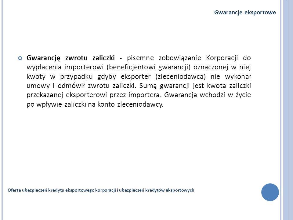 Gwarancję zwrotu zaliczki - pisemne zobowiązanie Korporacji do wypłacenia importerowi (beneficjentowi gwarancji) oznaczonej w niej kwoty w przypadku g