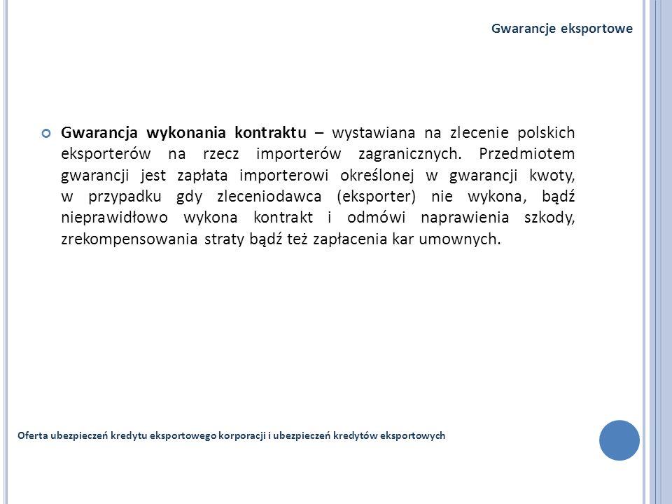 Gwarancja wykonania kontraktu – wystawiana na zlecenie polskich eksporterów na rzecz importerów zagranicznych. Przedmiotem gwarancji jest zapłata impo