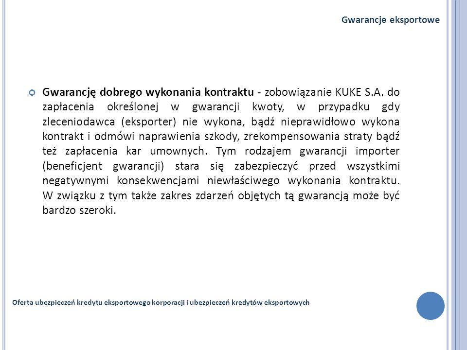 Gwarancję dobrego wykonania kontraktu - zobowiązanie KUKE S.A. do zapłacenia określonej w gwarancji kwoty, w przypadku gdy zleceniodawca (eksporter) n