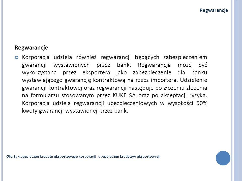 Regwarancje Korporacja udziela również regwarancji będących zabezpieczeniem gwarancji wystawionych przez bank. Regwarancja może być wykorzystana przez