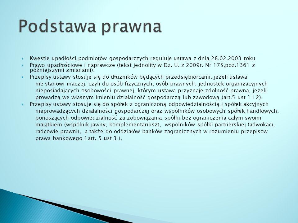 Kwestie upadłości podmiotów gospodarczych reguluje ustawa z dnia 28.02.2003 roku Prawo upadłościowe i naprawcze (tekst jednolity w Dz. U. z 2009r. Nr
