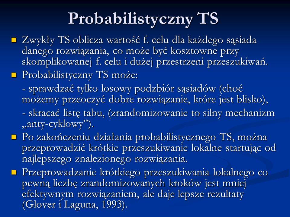 Probabilistyczny TS Zwykły TS oblicza wartość f. celu dla każdego sąsiada danego rozwiązania, co może być kosztowne przy skomplikowanej f. celu i duże