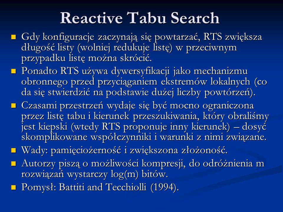 Reactive Tabu Search Gdy konfiguracje zaczynają się powtarzać, RTS zwiększa długość listy (wolniej redukuje listę) w przeciwnym przypadku listę można