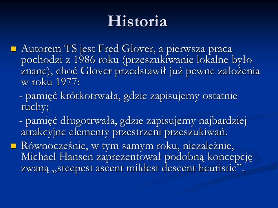 Historia Autorem TS jest Fred Glover, a pierwsza praca pochodzi z 1986 roku (przeszukiwanie lokalne było znane), choć Glover przedstawił już pewne zał