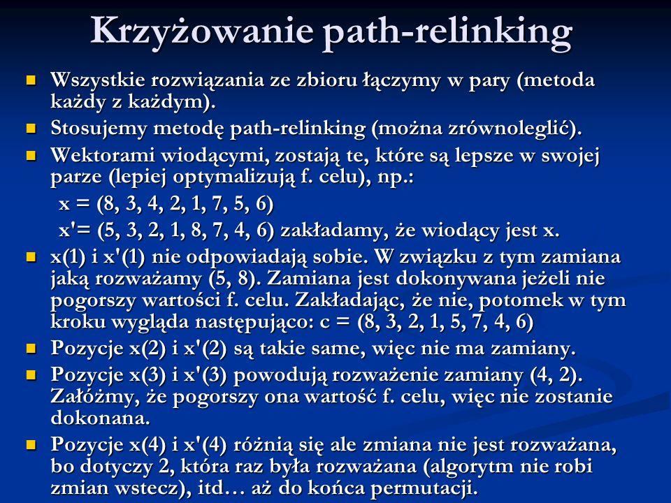 Krzyżowanie path-relinking Wszystkie rozwiązania ze zbioru łączymy w pary (metoda każdy z każdym). Wszystkie rozwiązania ze zbioru łączymy w pary (met