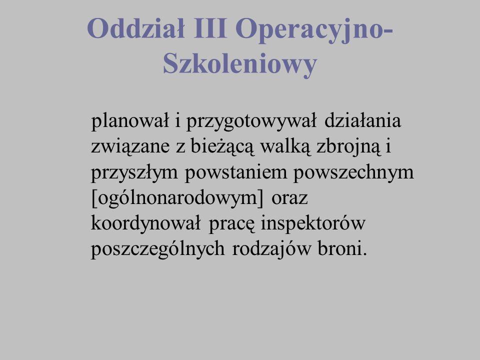Oddział III Operacyjno- Szkoleniowy planował i przygotowywał działania związane z bieżącą walką zbrojną i przyszłym powstaniem powszechnym [ogólnonaro