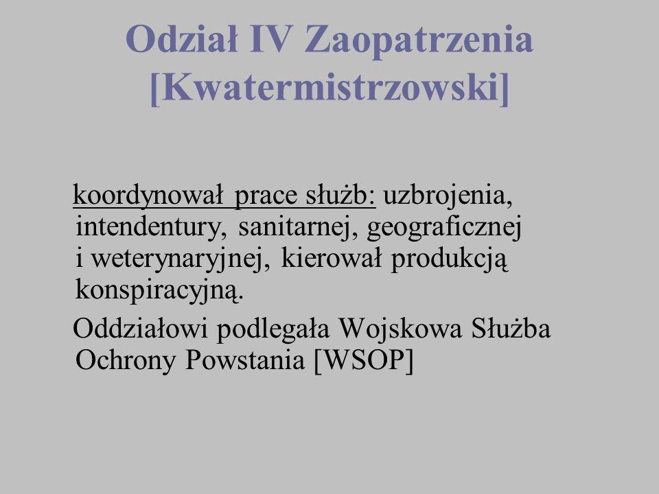 Odział IV Zaopatrzenia [Kwatermistrzowski] koordynował prace służb: uzbrojenia, intendentury, sanitarnej, geograficznej i weterynaryjnej, kierował pro